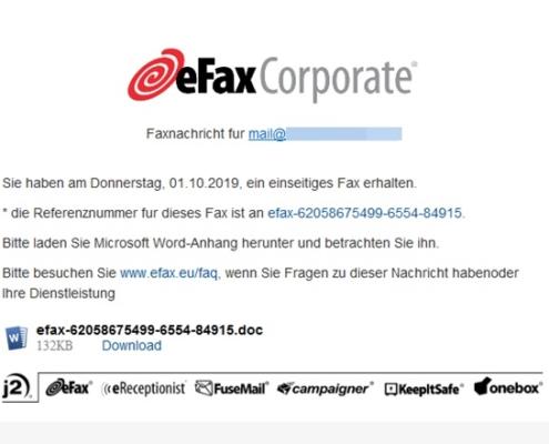 Efax Warnung