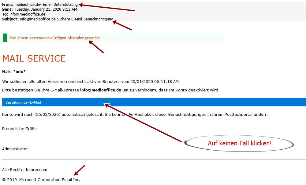 Falsche E-Mail Warnungen